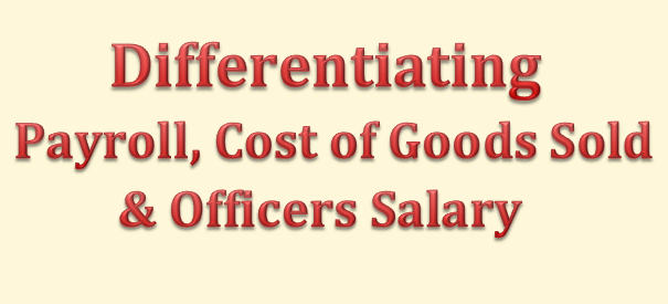 How to differentiate payroll vs Cost of Goods Sold vs Officers Salary